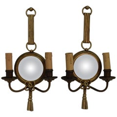 1950-1970 Pair of Sconces in Bronze Petitot Signed
