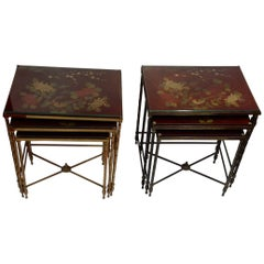 1950-1970 Pair of Series of 3 Nesting Tables in the Style of Maison Baguès