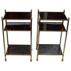 1950-1970 Pair of Shelves Has 3 Levels Style of Maison Bagués with Olded Mirror