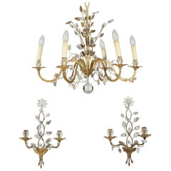 1950-1970 Chandelier and Pair of Walls Sconces Maison Baguès Foliage and Flowers