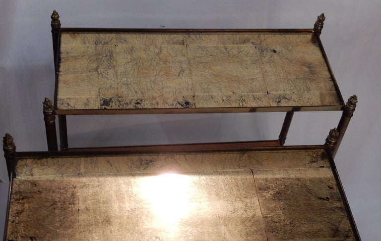 Neoclassical 1950-1970 Pair of Ends of Sofa in the Style of Maison Bagués Gilted Bronze For Sale