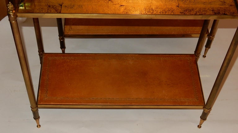Late 20th Century 1950-1970 Pair of Ends of Sofa in the Style of Maison Bagués Gilted Bronze For Sale