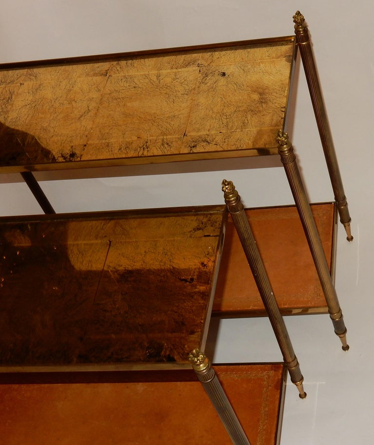 1950-1970 Pair of Ends of Sofa in the Style of Maison Bagués Gilted Bronze For Sale 1