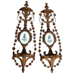 Pair of Golden Wood Wall Lamps Romantic Venice Console, Garlands, Mirrors