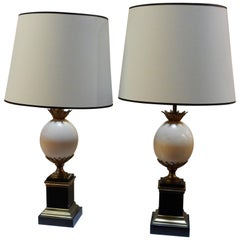 1950-1970 Pair of Lamps Black Marble and Ostrich Egg in Maison Jansen Style