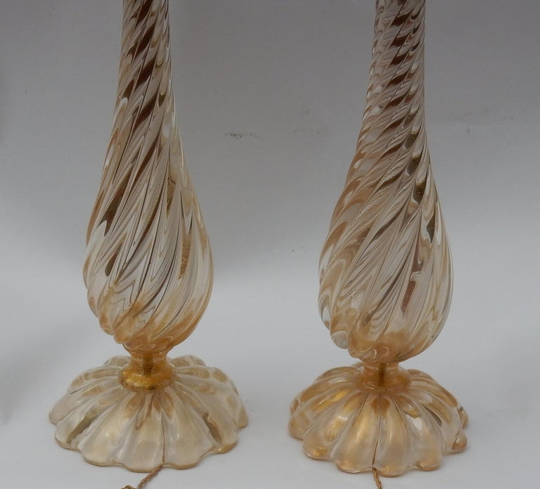 Pair of Lamps in Murano Glass with Gold Inside Seguso Di Murano Signed For Sale 3
