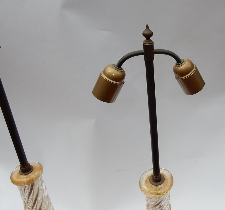 Pair of Lamps in Murano Glass with Gold Inside Seguso Di Murano Signed For Sale 6