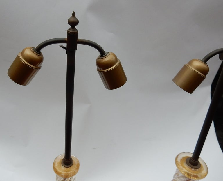 French Pair of Lamps in Murano Glass with Gold Inside Seguso Di Murano Signed For Sale