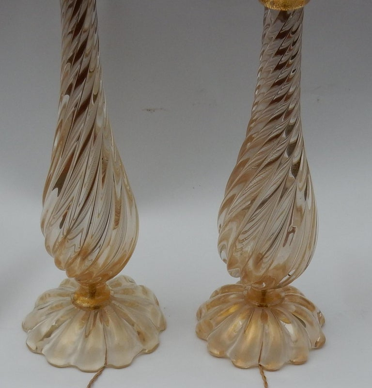 1970s Pair of Lamps in Murano Glass with Gold Inside Seguso Di Murano Signed For Sale