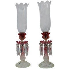 Pair of Opalescent Crystal Candlesticks and Red Baccarat Signed, 1950-1970