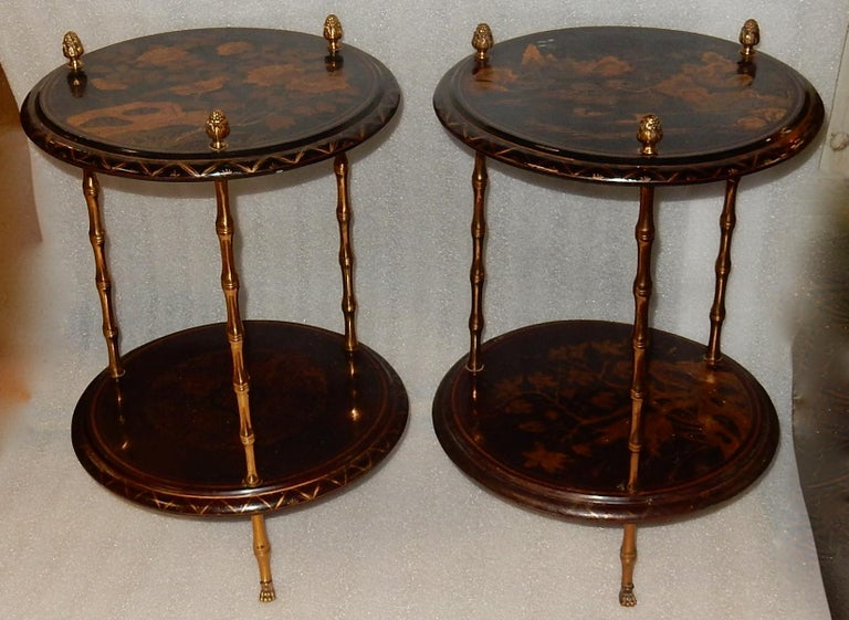 1950-1970 Pedestal in Gilt Bronze with Chinese Lacquer Tray, Pair For Sale 4