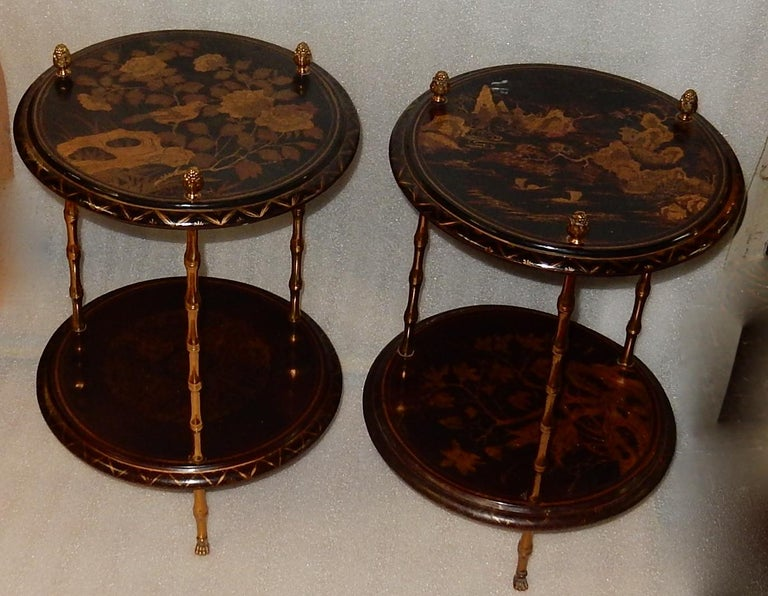 1950-1970 Pedestal in Gilt Bronze with Chinese Lacquer Tray, Pair For Sale 5