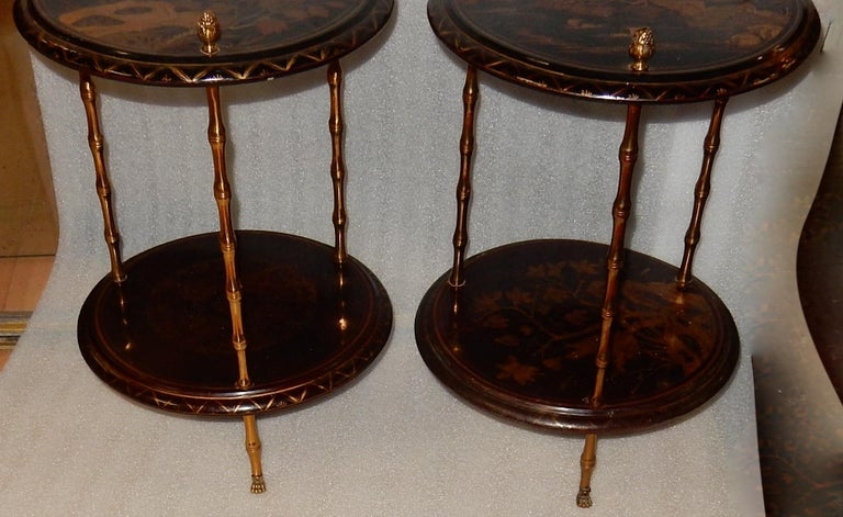 1950-1970 Pedestal in Gilt Bronze with Chinese Lacquer Tray, Pair For Sale 6
