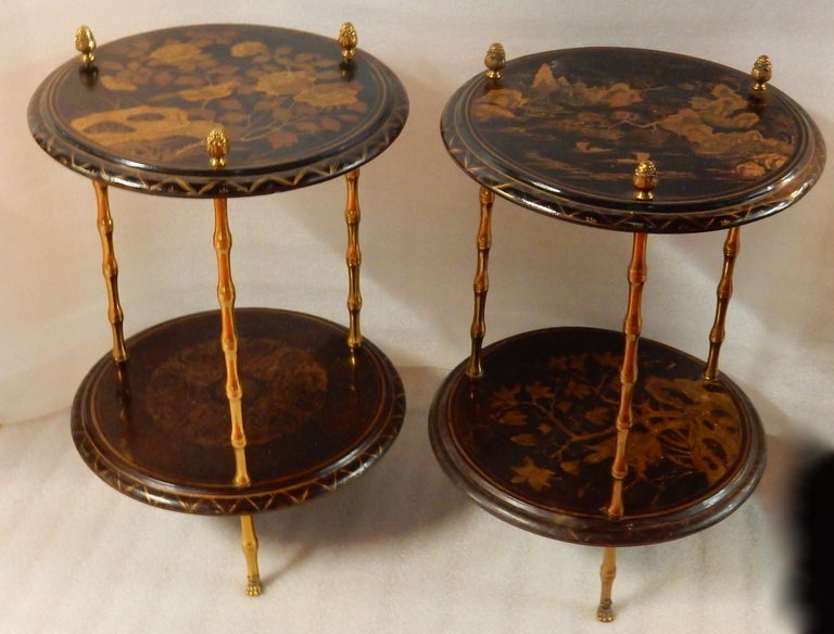 Pair of gilt bronze pedestal bamboo decor claw feet with Chinese lacquer wooden trays with landscape decor, birds, pine cones at the end of the uprights, circa 1950-1970, condition of use Everything is screwed, removable, easy to send all-over the