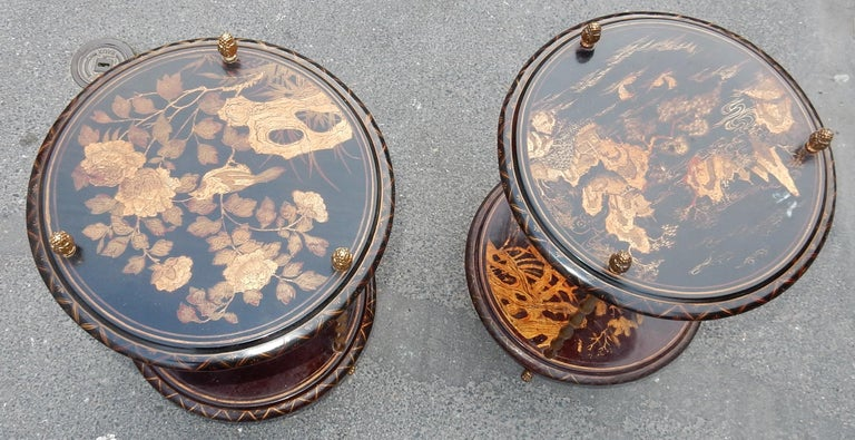 French 1950-1970 Pedestal in Gilt Bronze with Chinese Lacquer Tray, Pair For Sale