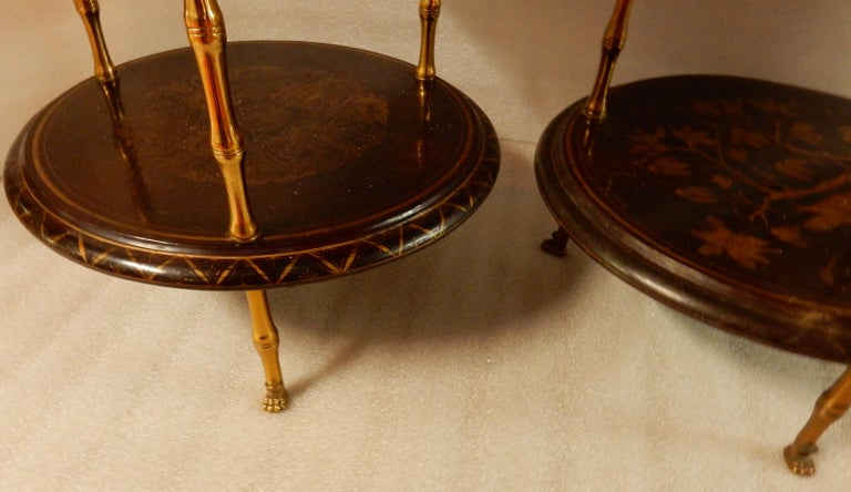 Mid-20th Century 1950-1970 Pedestal in Gilt Bronze with Chinese Lacquer Tray, Pair For Sale
