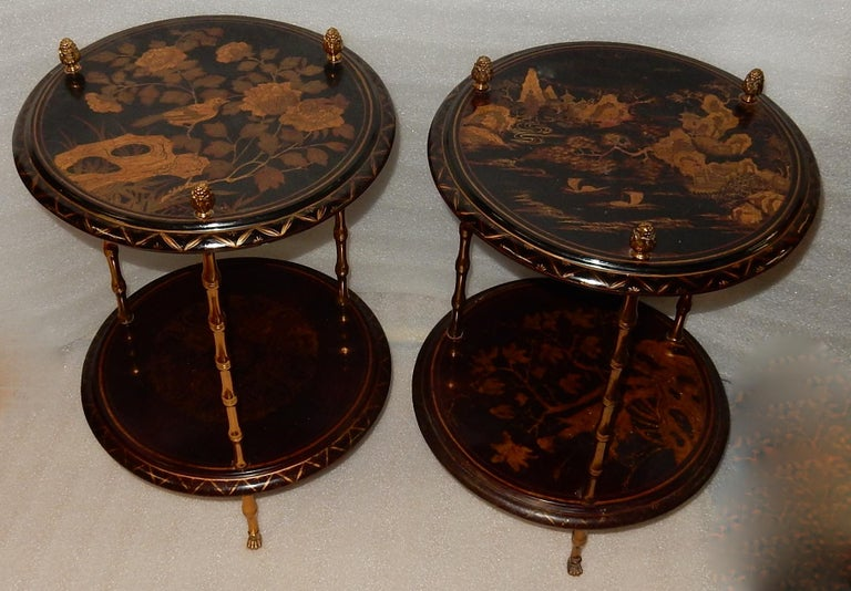 1950-1970 Pedestal in Gilt Bronze with Chinese Lacquer Tray, Pair For Sale 1