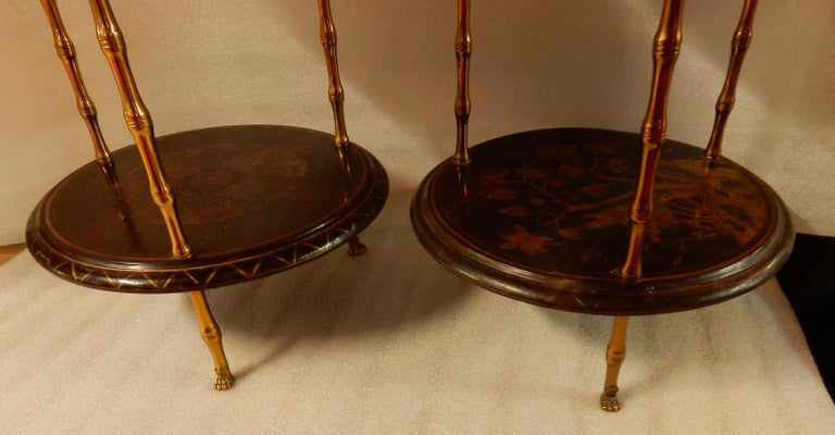 1950-1970 Pedestal in Gilt Bronze with Chinese Lacquer Tray, Pair For Sale 2