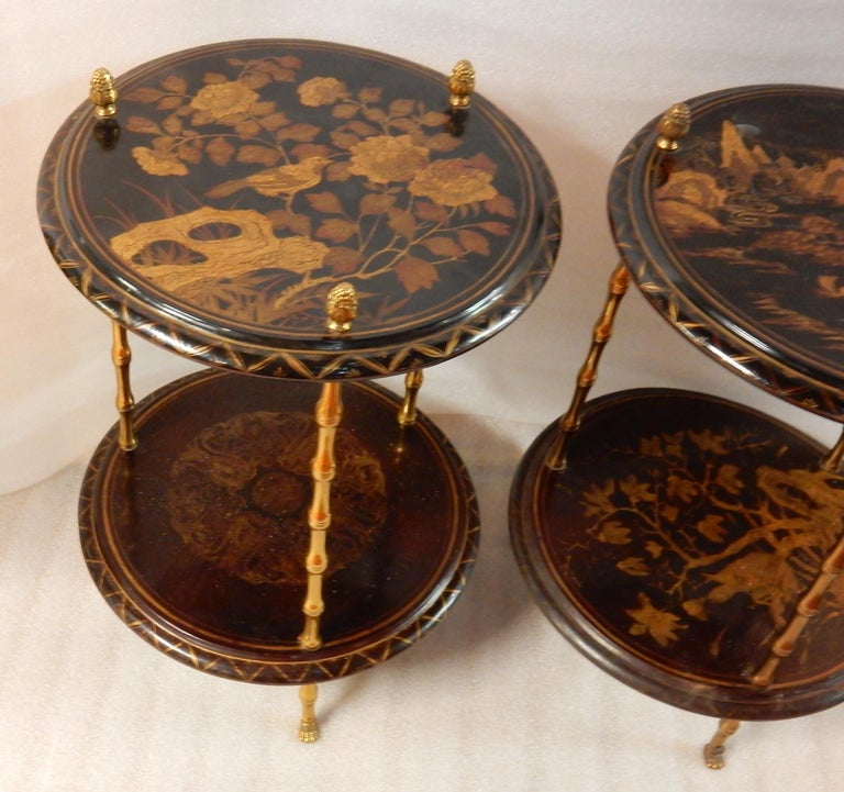 1950-1970 Pedestal in Gilt Bronze with Chinese Lacquer Tray, Pair For Sale 3