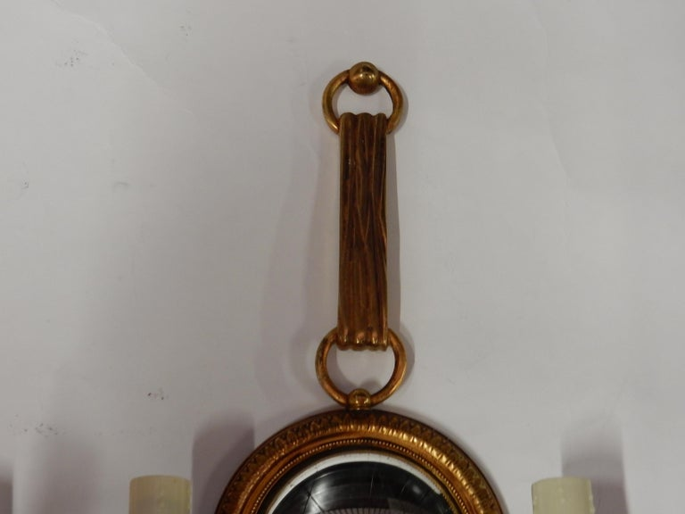 Mid-20th Century 1950-1970 Pair of Sconces in Gilted Bronze with Convex Mirror Petitot Signed For Sale