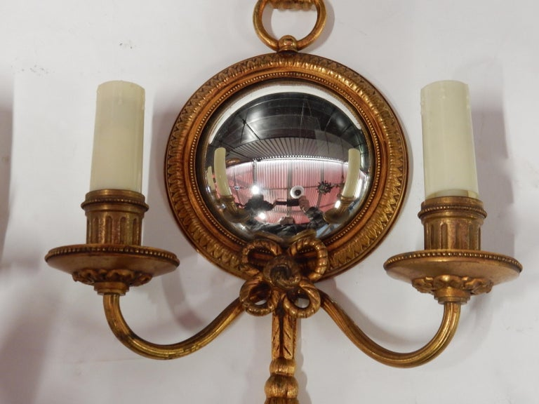 1950-1970 Pair of Sconces in Gilted Bronze with Convex Mirror Petitot Signed For Sale 2