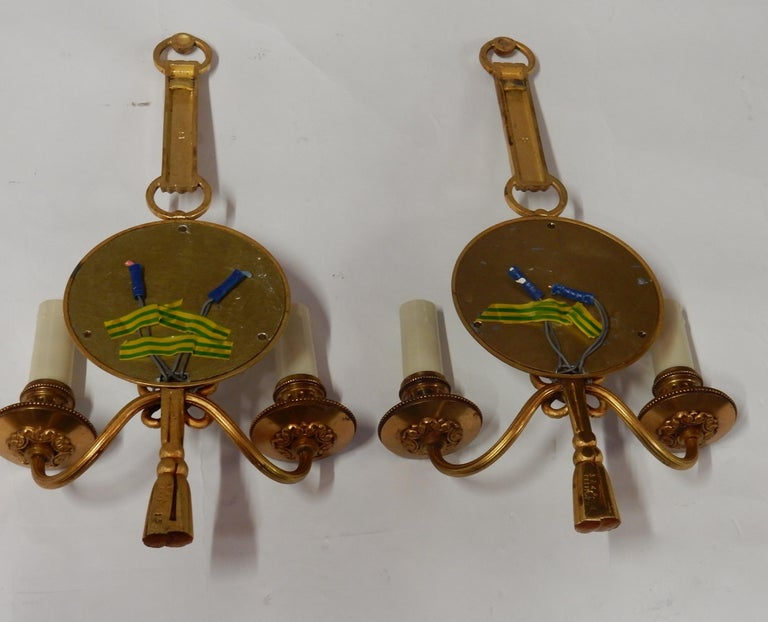 1950-1970 Pair of Sconces in Gilted Bronze with Convex Mirror Petitot Signed For Sale 3
