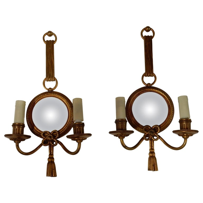 1950-1970 Pair of Sconces in Gilted Bronze with Convex Mirror Petitot Signed For Sale