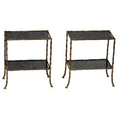 1950-1970 Pair of Table in the Style of Maison Bagués with Olded Oxyded Mirrors