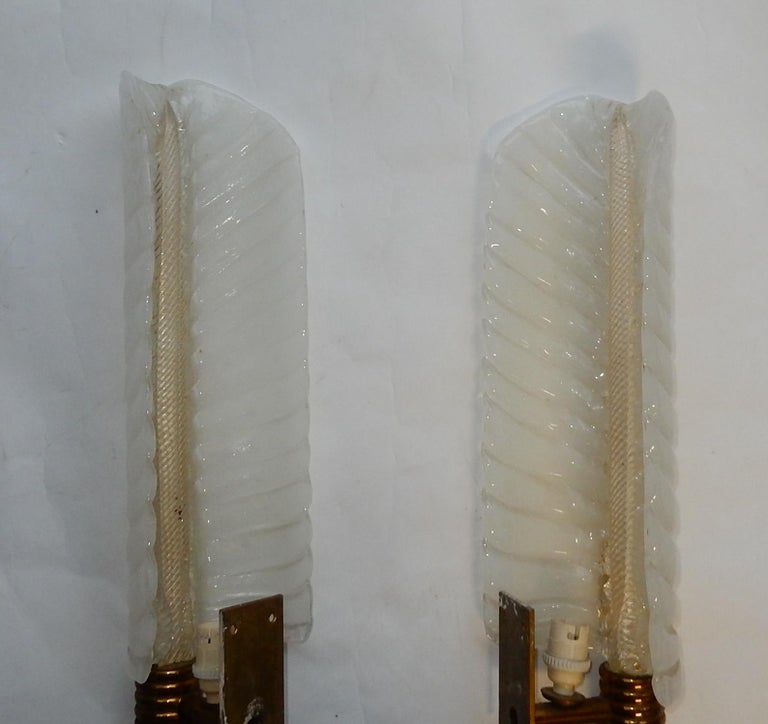 1950-1970 Wall Lamp Pair of Style Barovier i Toso or Veronése for Arbus Murano For Sale 2