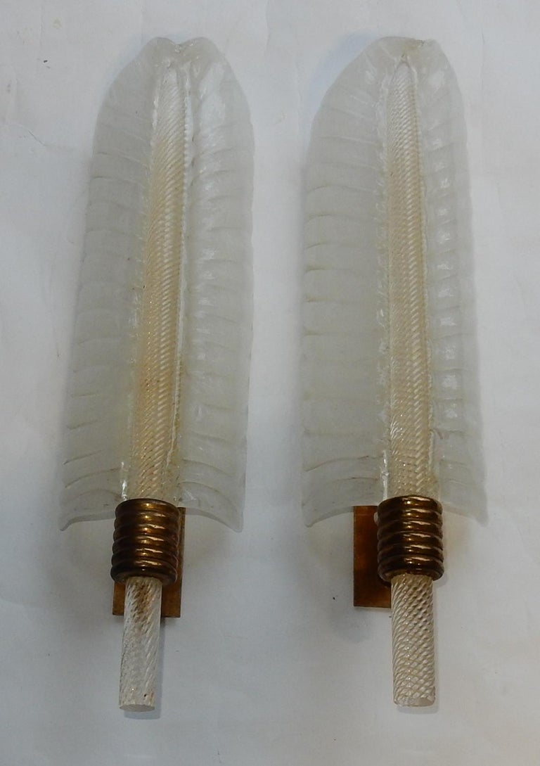 Art Deco 1950-1970 Wall Lamp Pair of Style Barovier i Toso or Veronése for Arbus Murano For Sale