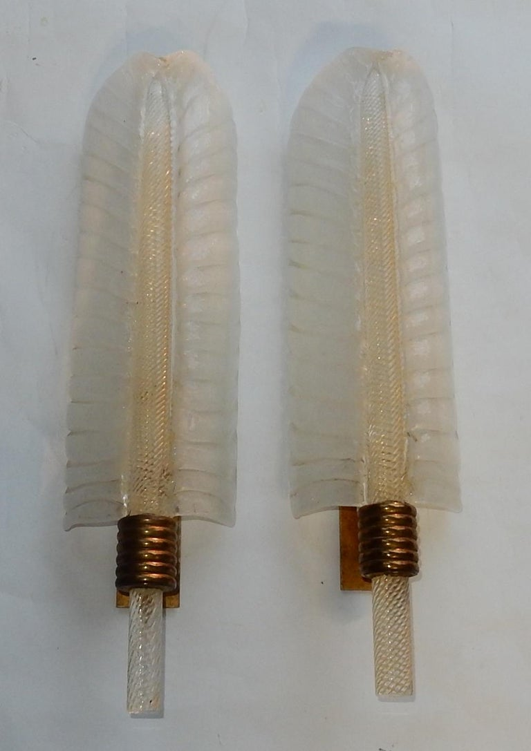 1950-1970 Wall Lamp Pair of Style Barovier i Toso or Veronése for Arbus Murano For Sale 1