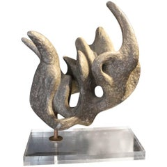 1950 Abstract Stone Sculpture Covered with Zinc, Plexiglass Base