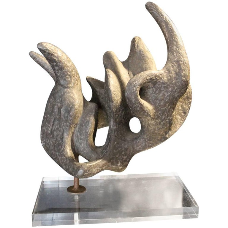 1950 Abstract Stone Sculpture Covered with Zinc, Plexiglass Base For Sale