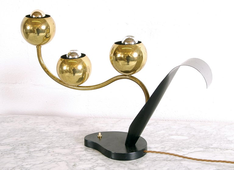 1950 American Mid-Century Modern Stylised Brass Flower Table Lamp Laurel Lamp Co For Sale 5