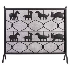 1950 Ateliers Marolles Fire Screen in Wrought Iron