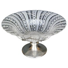 "1950 Barovier e Toso ""Zanfirico"" Glass and Silver Italian Murano Bowl"
