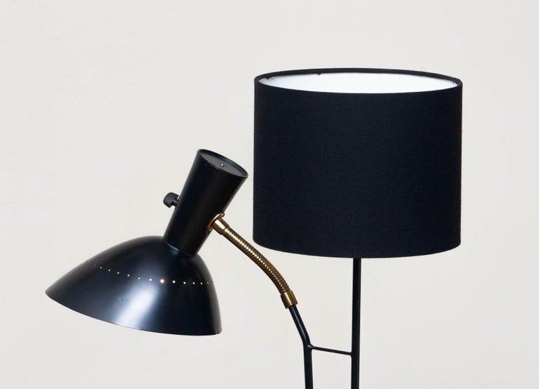 1950 Black Metal and Brass Floor Lamp, Hans Bergström for Ateljé Lyktan, Sweden 5