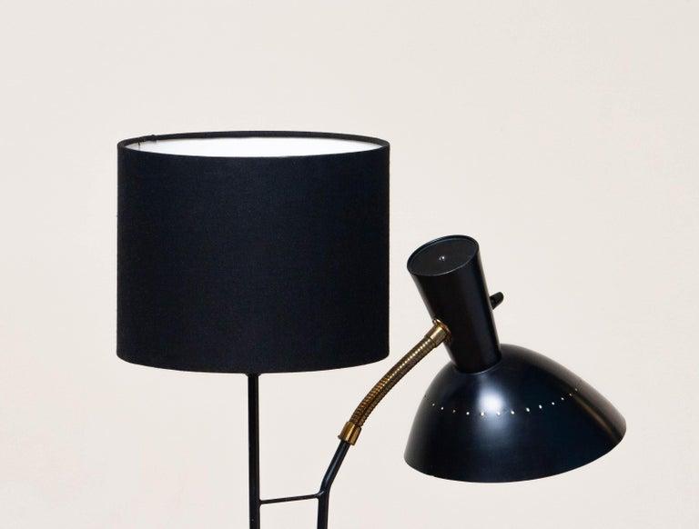 1950 Black Metal and Brass Floor Lamp, Hans Bergström for Ateljé Lyktan, Sweden 7