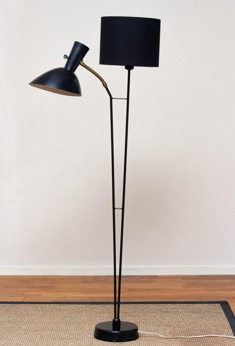 1950 Black Metal and Brass Floor Lamp, Hans Bergström for Ateljé Lyktan, Sweden 8
