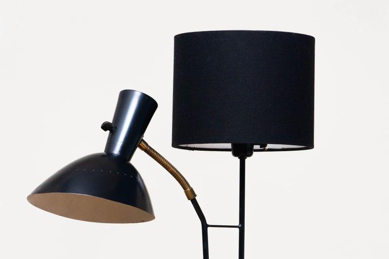 Swedish 1950 Black Metal and Brass Floor Lamp, Hans Bergström for Ateljé Lyktan, Sweden