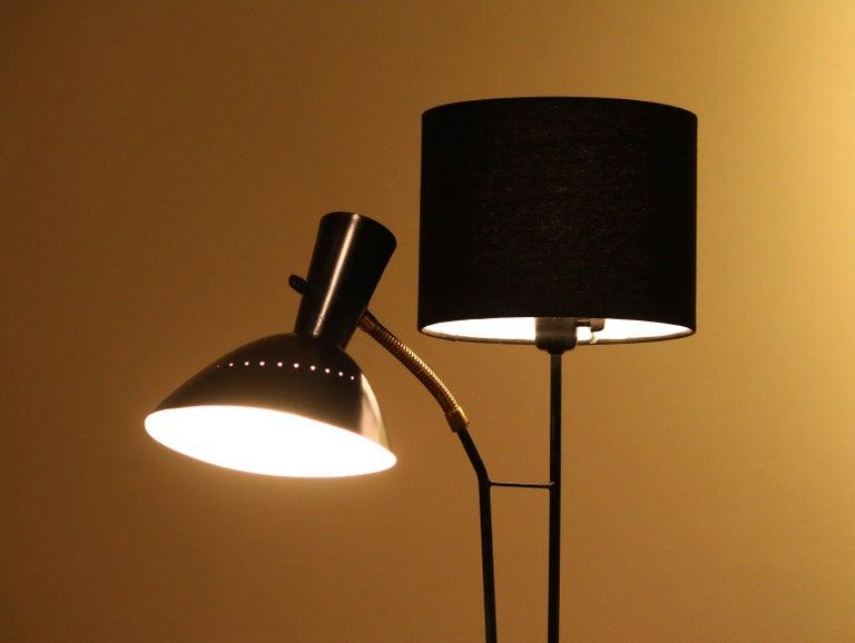 Mid-20th Century 1950 Black Metal and Brass Floor Lamp, Hans Bergström for Ateljé Lyktan, Sweden