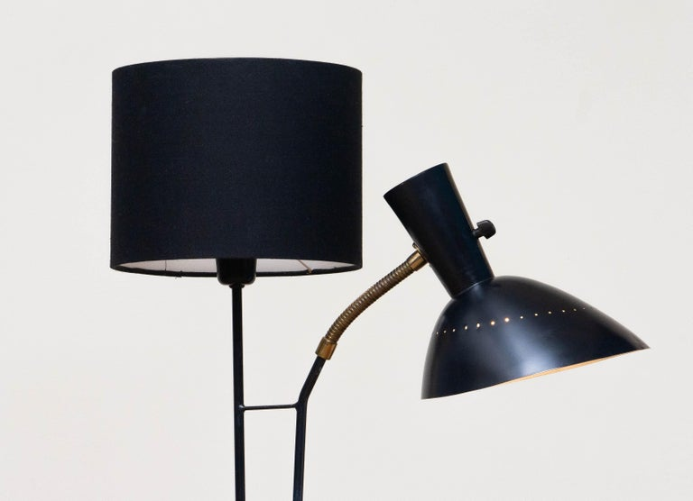 1950 Black Metal and Brass Floor Lamp, Hans Bergström for Ateljé Lyktan, Sweden 1
