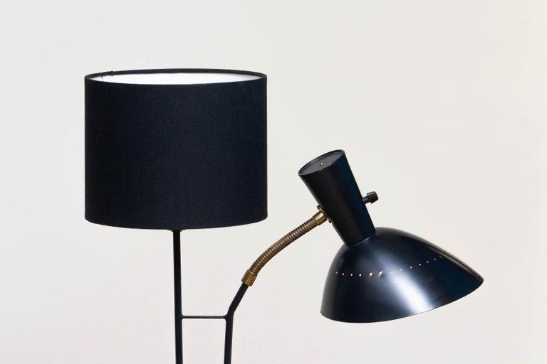 1950 Black Metal and Brass Floor Lamp, Hans Bergström for Ateljé Lyktan, Sweden 2