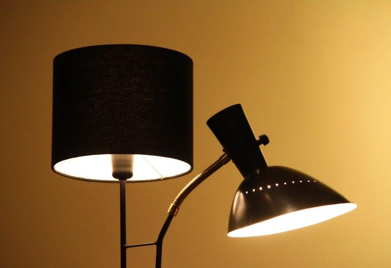 1950 Black Metal and Brass Floor Lamp, Hans Bergström for Ateljé Lyktan, Sweden 3