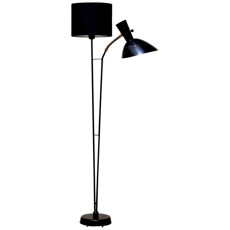 1950 Black Metal and Brass Floor Lamp, Hans Bergström for Ateljé Lyktan, Sweden