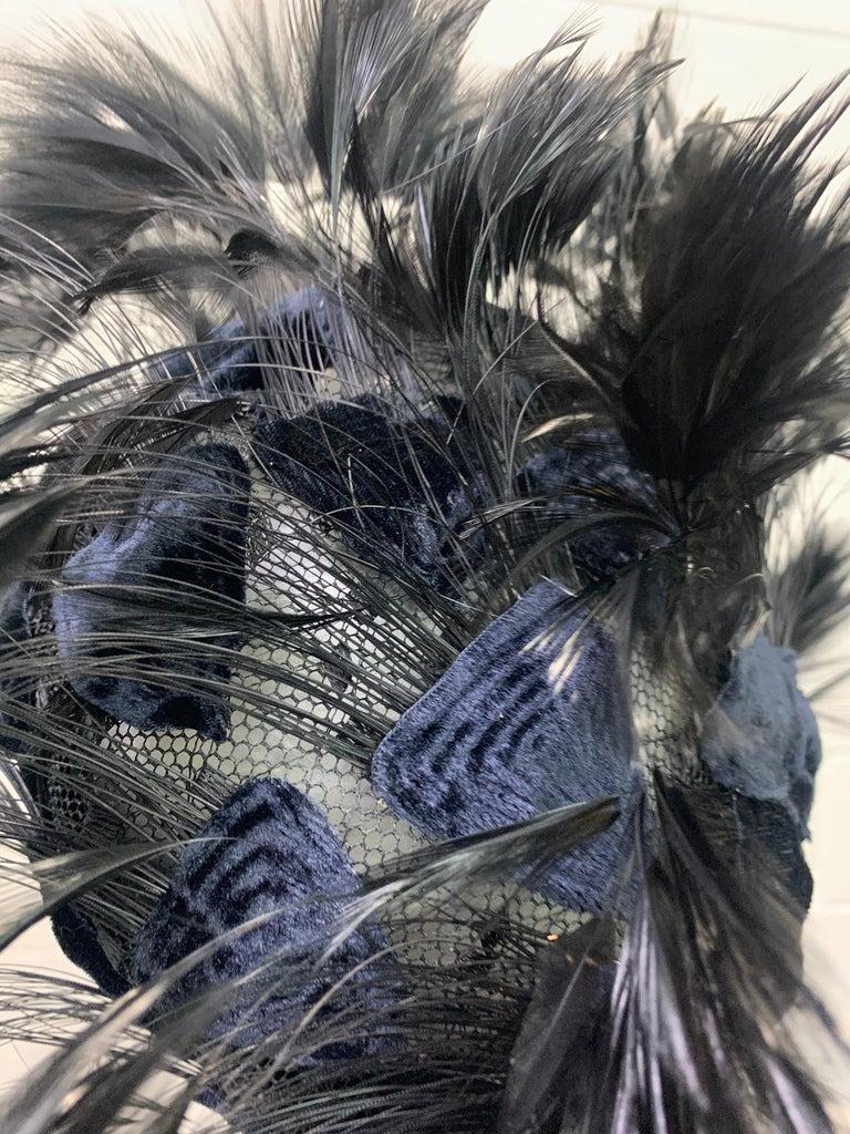 1950 Christian Dior Chapeaux Black Feather Turban W/ Velvet Applique Details For Sale 6