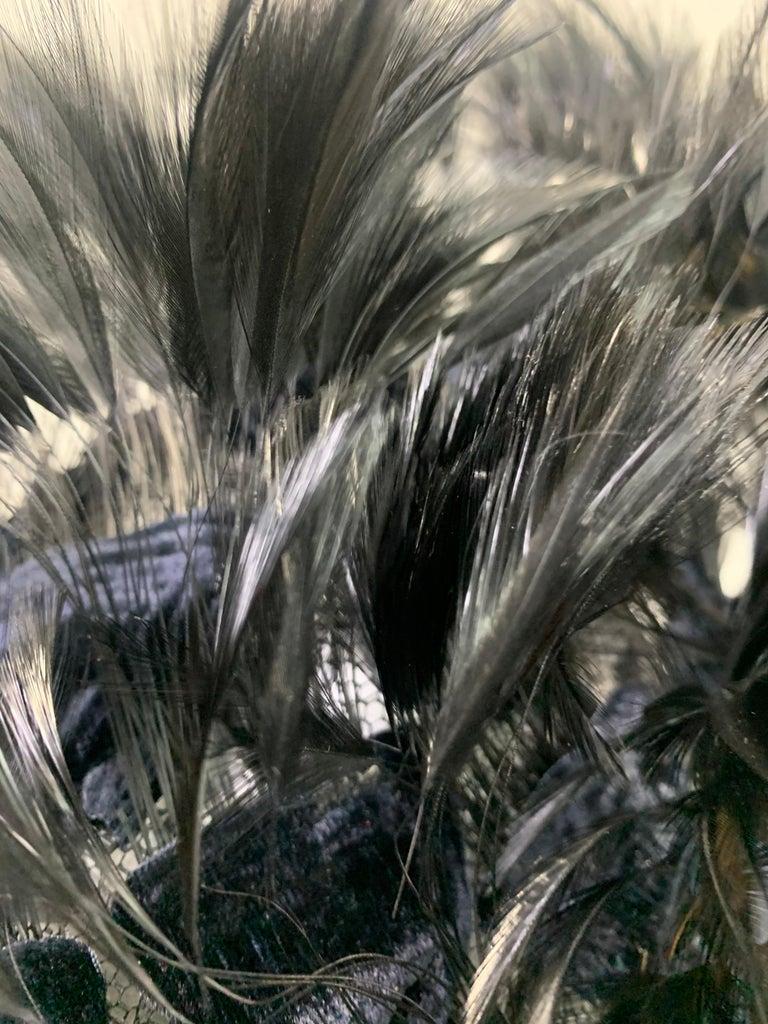 1950 Christian Dior Chapeaux Black Feather Turban W/ Velvet Applique Details For Sale 7