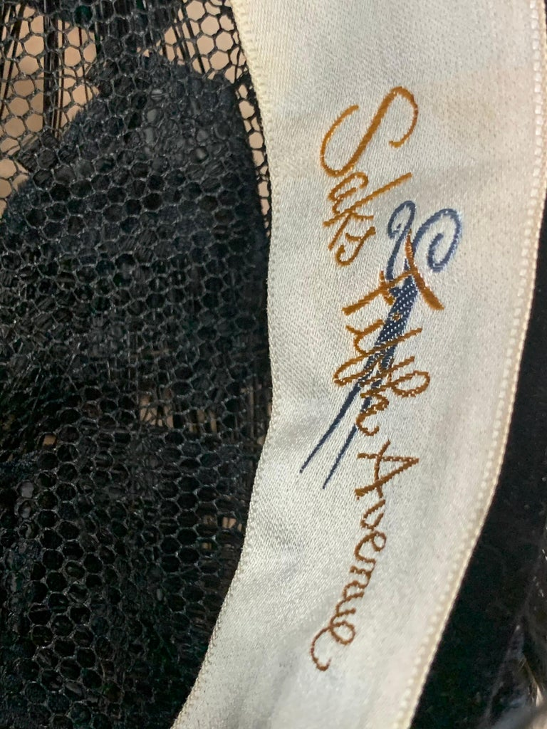 1950 Christian Dior Chapeaux Black Feather Turban W/ Velvet Applique Details For Sale 9