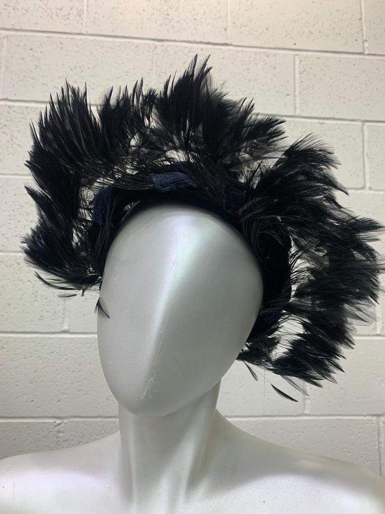 Women's 1950 Christian Dior Chapeaux Black Feather Turban W/ Velvet Applique Details For Sale