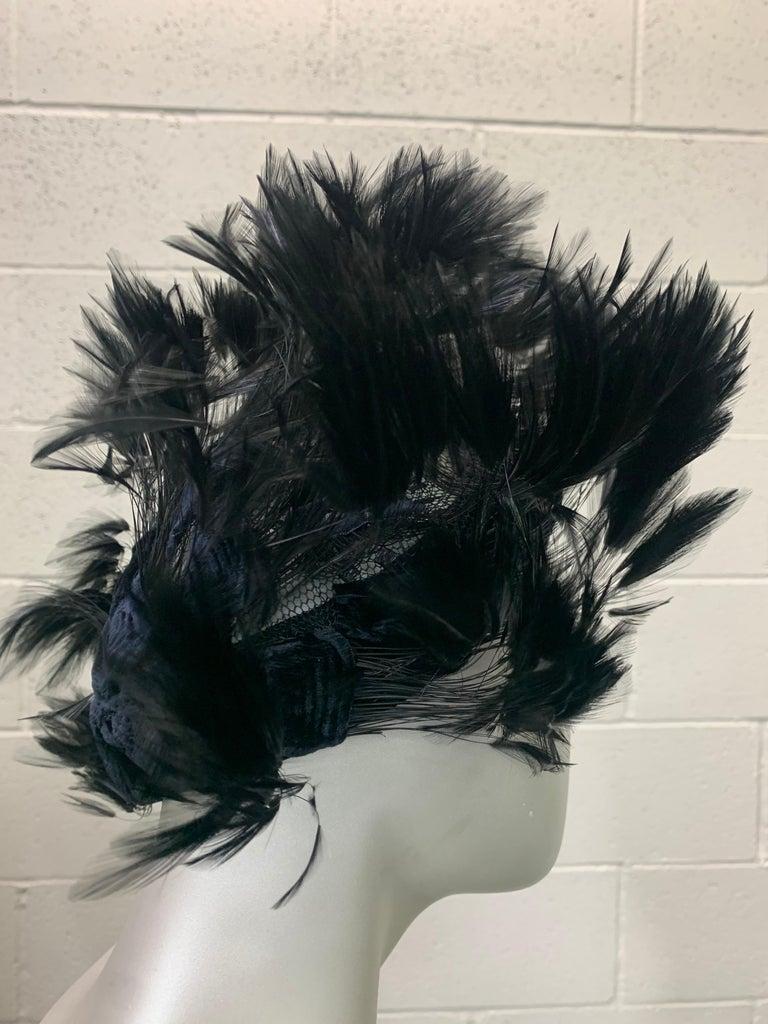 1950 Christian Dior Chapeaux Black Feather Turban W/ Velvet Applique Details For Sale 3